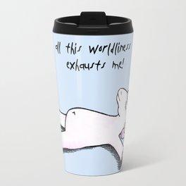 exhausted unicorn (blue) Travel Mug