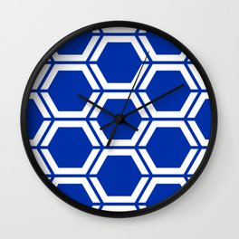 International Klein Blue	 - blue - Geometric Polygon Pattern Wall Clock