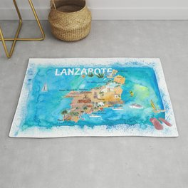Lanzarote Canarias Spain Illustrated Map with Landmarks and Highlights Rug