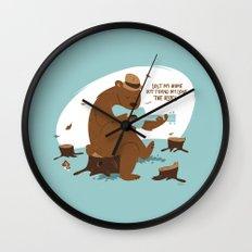 Brown Bear Blues Wall Clock