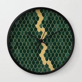 Mermaid Fin Gold Streak // Emerald Green Glittery Scale Watercolor Gradient Bedspread Home Decor Wall Clock
