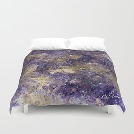 Writings in the Sky the Night Galaxy watercolor by CheyAnne Sexton Duvet Cover