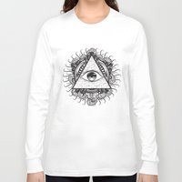 all seeing eye Long Sleeve T-shirts featuring All Seeing Eye by E1 illustration