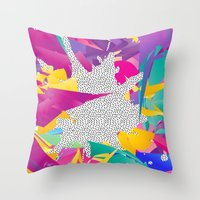 80s Throw Pillows featuring 80s Abstract by Danny Ivan
