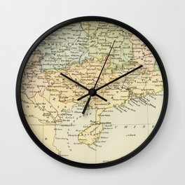 Vintage Map of The South Of China Wall Clock