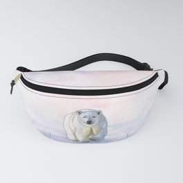 Polar bear in the icy dawn Fanny Pack