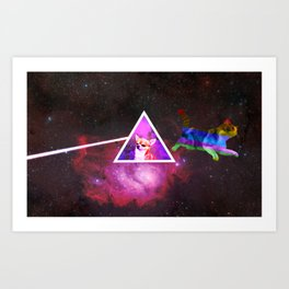 Cat Floyd - dark side of the dog Art Print