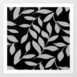 GRAY LEAVES BOUNTIFUL Gray and Black Fashion Art Print