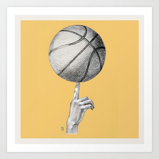 Basketball spin orange Art Print