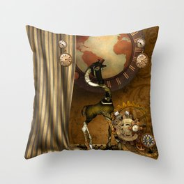 Cute steampunk giraffe with clocks and gears Throw Pillow