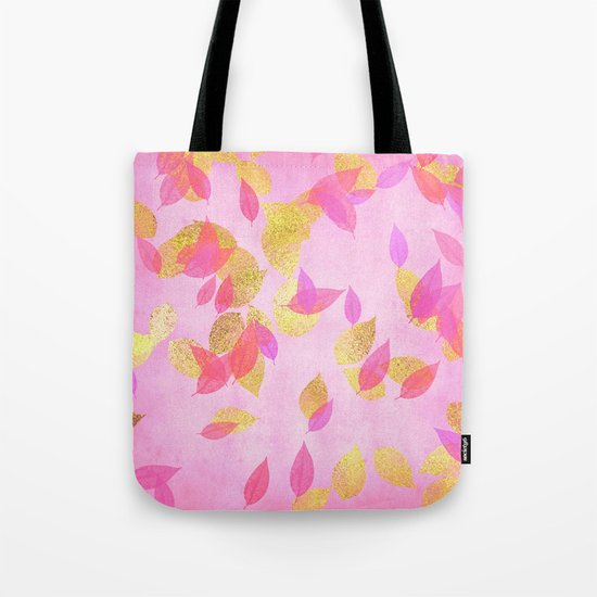Autumn-world 5 - gold glitter leaves on pink background on #Society6 Tote Bag