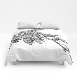 Leafy Sea Dragon Black and White Comforters