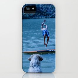 Dog watches master jump in water (Summertime reflections) iPhone Case