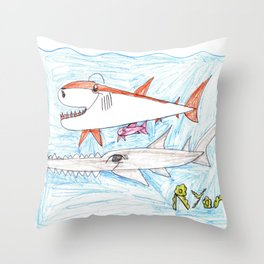 Megamouth Shark & Queensland Sawfish Throw Pillow