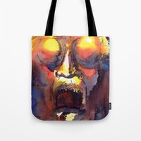 fear Tote Bags featuring Fear  by Stevyn Llewellyn