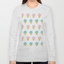 Sprinkle Ice Cream Cone Repeat in Pink + Atomic Mint on White Long Sleeve T-shirt