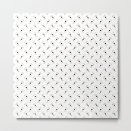 Blackbird Pattern in Black And White Metal Print