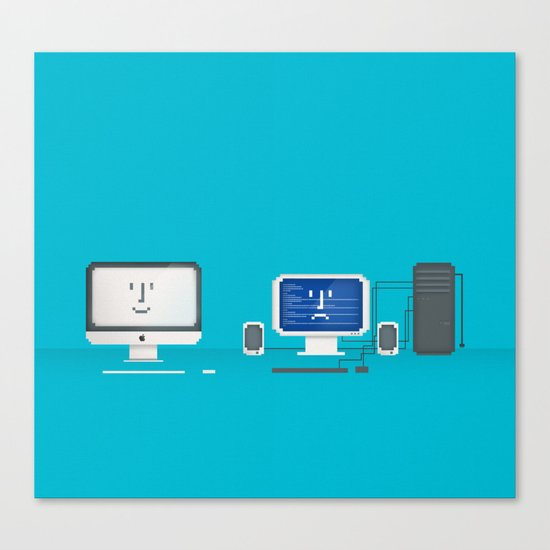 Apple iMac + PC Canvas Print