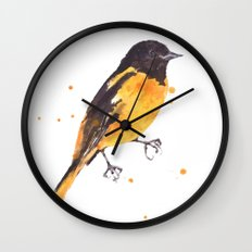 Baltimore Oriole, Bird paintings, black and orange, american birds, ornithologist pillow Wall Clock