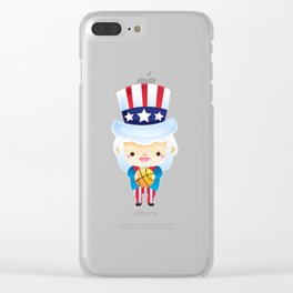 uncle sam basketball 4th of july usa Clear iPhone Case
