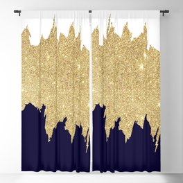 Modern navy blue white faux gold glitter brushstrokes Blackout Curtain