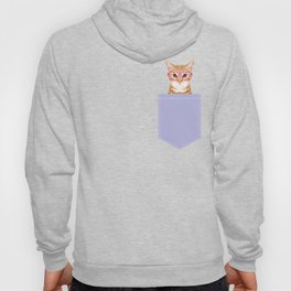 Mackenzie - Orange Tabby Cute Hipster Glasses Kitten Lavender Pastel Girly Retro Cat Art cell phone Hoody
