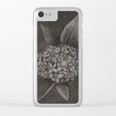 Charcoal Hydrangea Clear iPhone Case