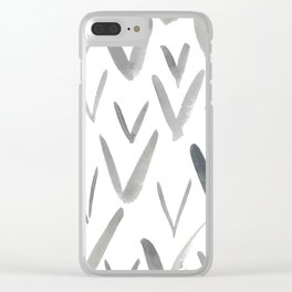 Watercolor V's - Grey Gray Clear iPhone Case