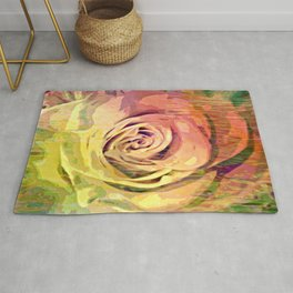 Vintage Painterly Autumn Rose Abstract Rug