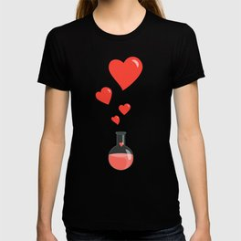 Love Chemistry Flask of Hearts Pattern T-shirt