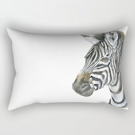 Zebra Watercolor Painting - African Animal Painting Wildlife Head Bust Rectangular Pillow
