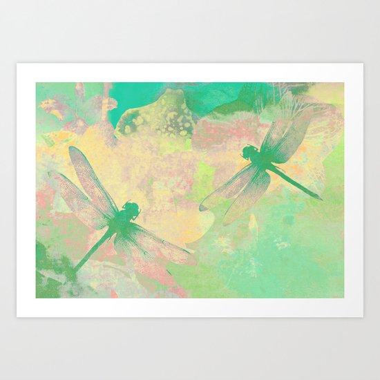Green Painting Dragonflies Art Print