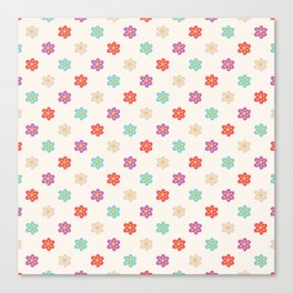 Abstract ivory teal orange violet cute floral Canvas Print