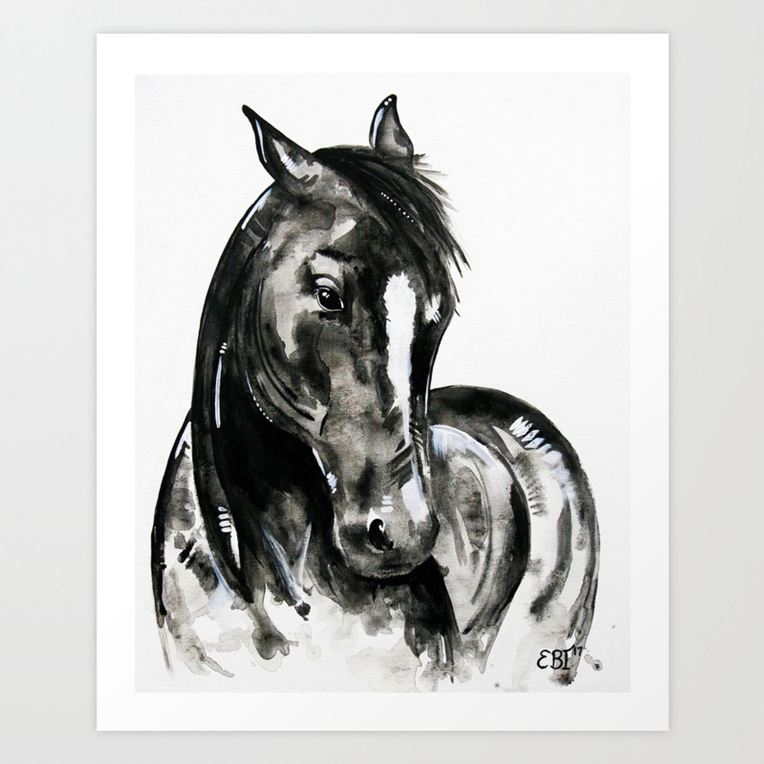 Play Of Light Black And White Horse Painting Art Print By Evei Society6