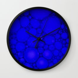 Blue Oil on Water Droplets Abstract Wall Clock