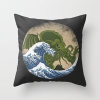 hokusai Throw Pillows featuring Hokusai Cthulhu by Marco Mottura - Mdk7