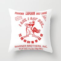 sriracha Throw Pillows featuring Foghorn Leghorn Sauce (Red) by Huemanitee