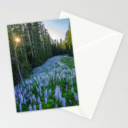 High Country Lupine - Purple Wildflowers in Montana Mountains Stationery Cards