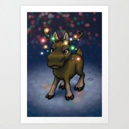 Christmas Moose Art Print