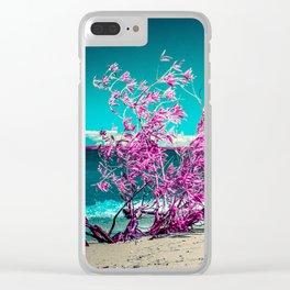 Hot Pink On An Aqua Beach, Michigan Clear iPhone Case