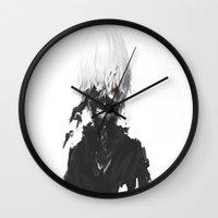 tokyo ghoul Wall Clocks featuring Tokyo Ghoul- Kaneki by Ren Flexx