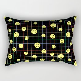Colorful Smiley Emoji 4 - black Rectangular Pillow