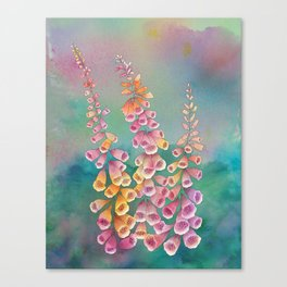 Wild flowers: summer foxgloves watercolor painting  Canvas Print