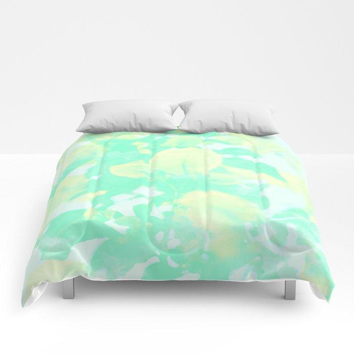 Mint Bougainvillea Comforters