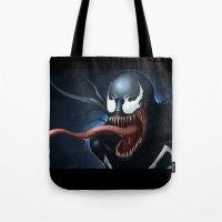 venom Tote Bags featuring Venom by Fr0stArt