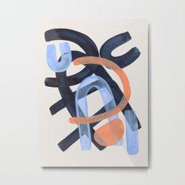 Midcentury Modern Minimalist Funky Cool Tribal Pattern Paynes Grey Pastel Blue Tan Shapes by Ejaaz Haniff Metal Print
