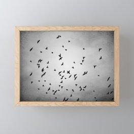 Black and White Birds Flying Photography, Grey Bird Fly Sky, Gray Neutral Nature Flock Photo Framed Mini Art Print
