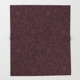 Tawny Port Lace Floral Throw Blanket