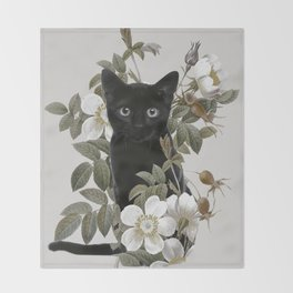 Cat With Flowers Throw Blanket