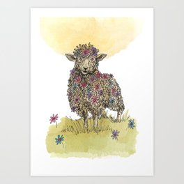 Flower Sheep Art Print